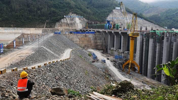 New huge project: the hydropower dam in the Mekong on January 07,2019 in Luang Prabang, Laos