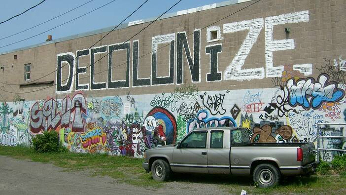 Gore street mural, Decolonize, Sault Ste. Marie, Ontario