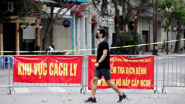 A quarantined street in Hanoi, March 10, 2020