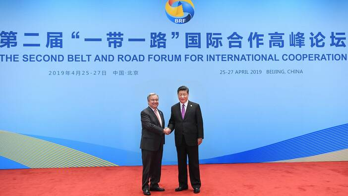 April 27, 2019: Chinese President Xi Jinping welcomes UN Secretary-General Antonio Guterres to the roundtable of foreign leaders at the Second Belt and Road Forum for International Cooperation in Beijing.