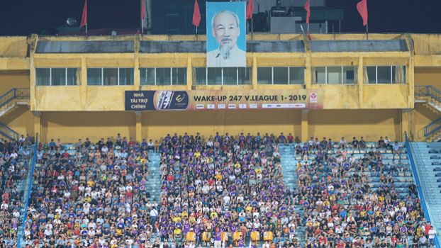 Ho Chi Minh at the Hang Day Stadium at a match of Hanoi FC