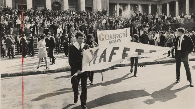 UCT 1968 sit-in protest: marching from Jameson Hall to the Administration Block