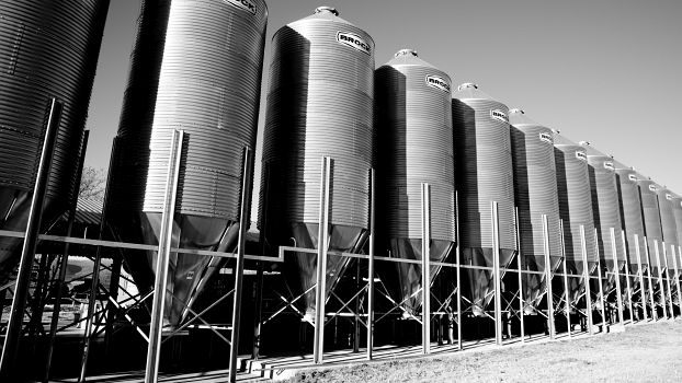 Grain storage bins at Ukulima in Limpopo, South Africa